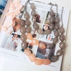 Jewelry - Milky Pink & Grey Glass 3-Tier Beaded Necklace